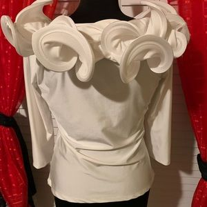 White stretch ruffle neck top